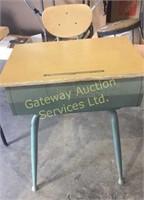 Metal School Desk with Wooden Top
