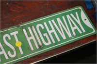 "PACIFIC COAST HWY 24"" METAL SIGN"