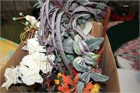 BOX OF DECORATIVE PLANTS & VASES