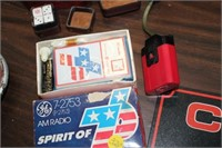 AM RADIO,DICE IN DICE BOX,PLAYING CARDS IN BOX,ETC
