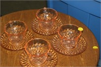 4 PINK GLASS CUPS & SAUCERS