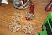 FIREMAN LAMP & COASTERS