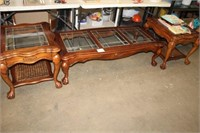 3 PC GLASS TOP TABLE SET