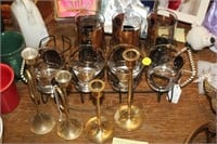 GLASS SET WITH TRAY,BRASS CANDLE STICKS