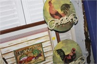 FRAMED PRINT & RACK WITH 3 ROOSTER PLATES