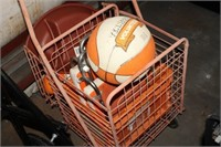 CART WITH SPORTS ITEMS
