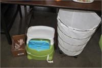 PORTABLE HIGH CHAIR,HAMPER & DOLL PARTS