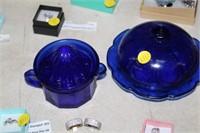 BLUE GLASS BUTTER DISH & JUICER