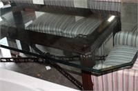 GLASS TOP TABLE & 6 CHAIRS,78X46X30 TALL