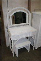 WICKER DRESSING TABLE WITH STOOL