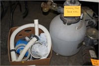 BOX OF POOL HOSES,BASKETS & SAND FILTER