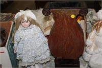 2 COLLECTOR DOLLS,VASE,WALL HANGING,ETC