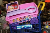 LOT OF CHILDS SHOPPING CART,WORK BENCH,WAGON