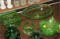 GREEN GLASS GLASSWARE