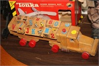 WOODEN BLOCK TRUCK & TOY HELICOPTER & SANTA