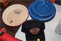 ENAMEL PLATES,PIE PLATE & HAT