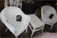2 WICKER CHAIRS & TABLE