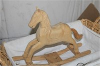 2 BASKETS & WOODEN ROCKING HORSE