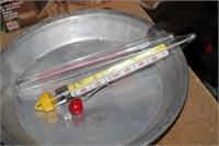 3 METAL PIE PANS, THERMOMETERS, ETC.