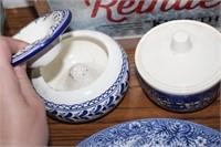 BLUE/WHITE PLATE,SUGAR,ETC