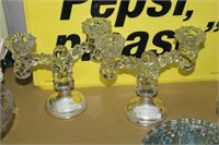 PAIR OF STERLING SILVER/GLASS CANDLE HOLDERS