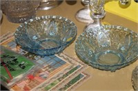 2 BLUE GLASS BOWLS