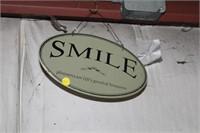 SMILE SIGN & GIRL FRAMED PRINT