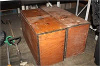 2 WOODEN STORAGE BOXES WITH CONTENTS