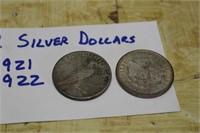 2 SILVER DOLLARS 1921-22