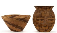 Several Native American baskets