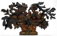 Fine 19th-century carved and painted fruit basket plaque, ex-Walter Jeffords