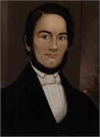 Prior-Hamblin School oil on board portrait of a man, ex-Garbisch Collection
