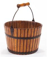 Rare Shaker mixed-wood diminutive pail, probably Rufus Crossman or Elder Daniel Boler, Mount Lebanon, NY, made to commemorate an 1875 fire