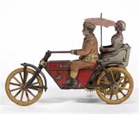 German G & K tin wind-up motorcycle with side car toy