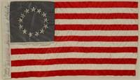 Patriotic silk souvenir flag, made by Sarah Wilson, Betsey Ross's great granddaughter