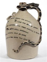 """Unusual stoneware Temperance snake jug (Late 19th/early 20th century), signed """"William Law"""", Swinehart Collection"""