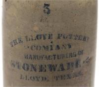 Detail of Lloyd Pottery Co., Lloyd, Texas stoneware churn, previously unrecorded