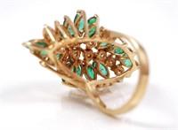 14k Gold Emerald & Diamond Ring