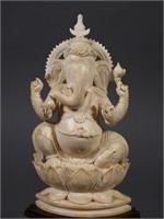 Carved Ivory GANESHA Vintage Statue