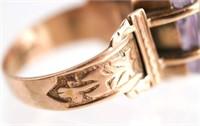 Antique 14k Gold Intaglio Amethyst Ring