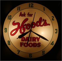 Rare Double Bubble Hood's Dairy Clock