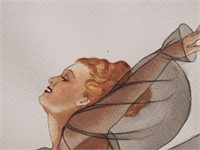 W. T. WALLS, Watercolor, Woman w/ Dandelion, 1940
