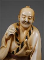 Antique Japanese Samurai Ivory Carving