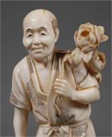 Antique Japanese Carved Ivory Figurine