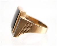 10k Gold Mens Ring w Onyx