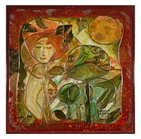 ANGELO MODLING, Mixed Media, Figure in Garden