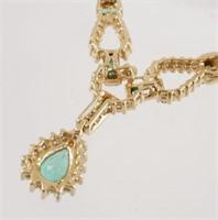 14k Gold EMERALD & Diamond Necklace