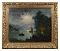 Lake Scene, Oil on Canvas, 19C