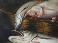 JOSE PUYET, Oil on Canvas, Woman with Fish