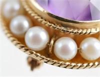 14k Gold Vintage Brooch w Purple Stone